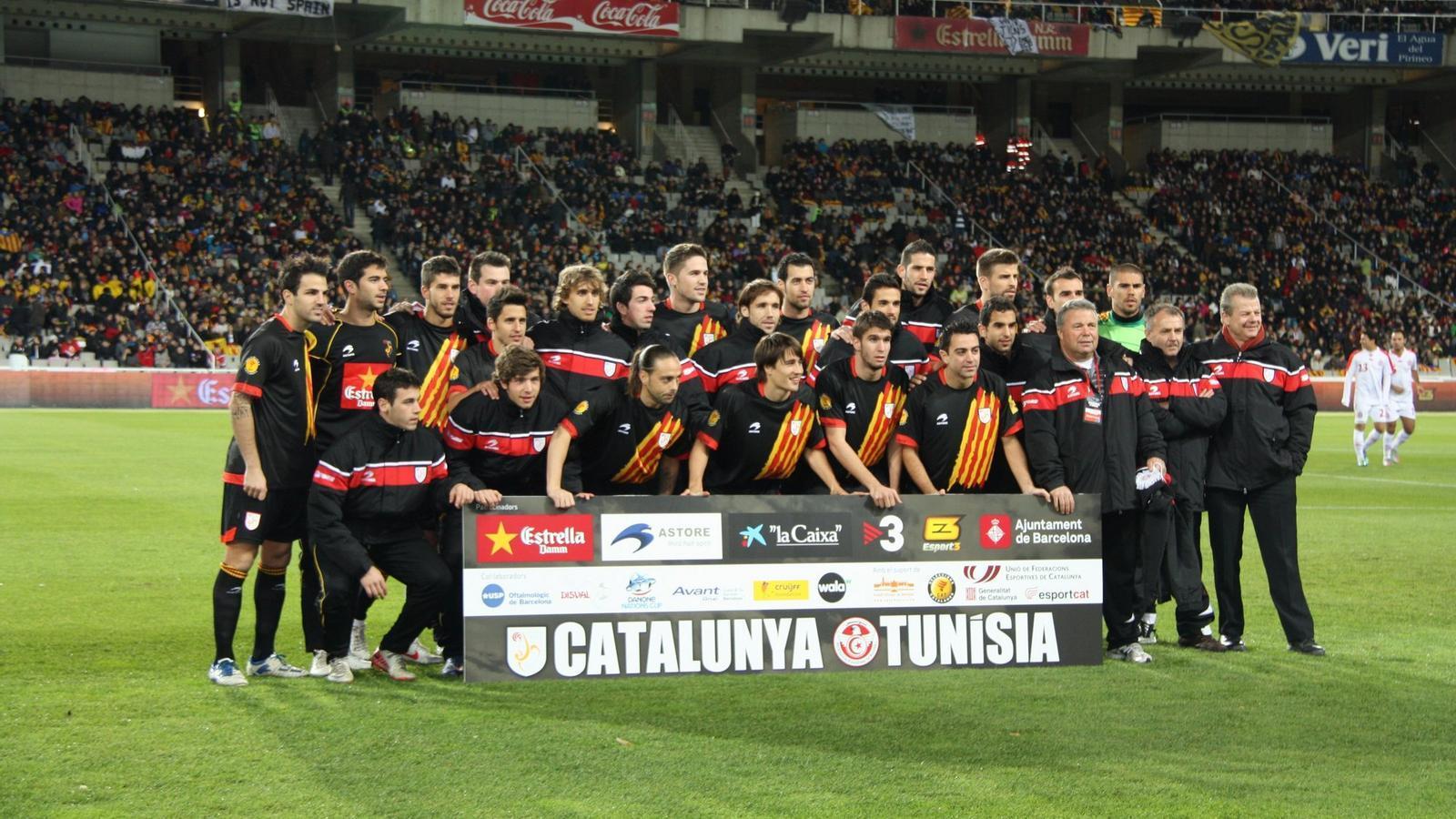 Imatge de l'últim partit de la selecció catalana   De futbol contra Tunísia.