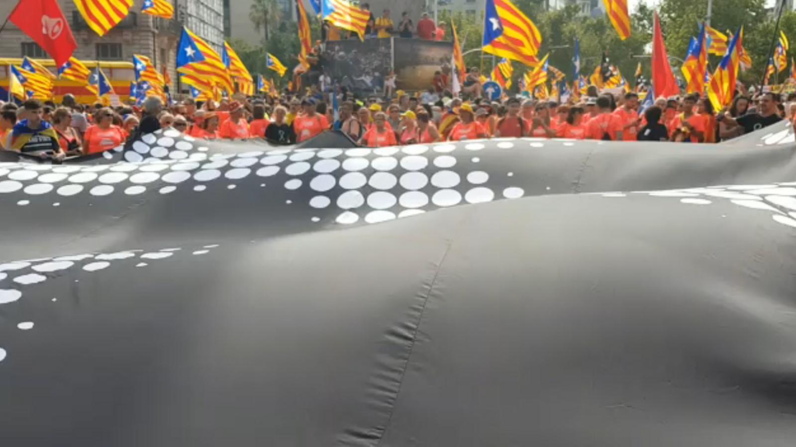 L'Associació Els Revoltats d'Igualada onegen una rèplica de l'última bandera que va quedar a Barcelona durant el setge de 1714