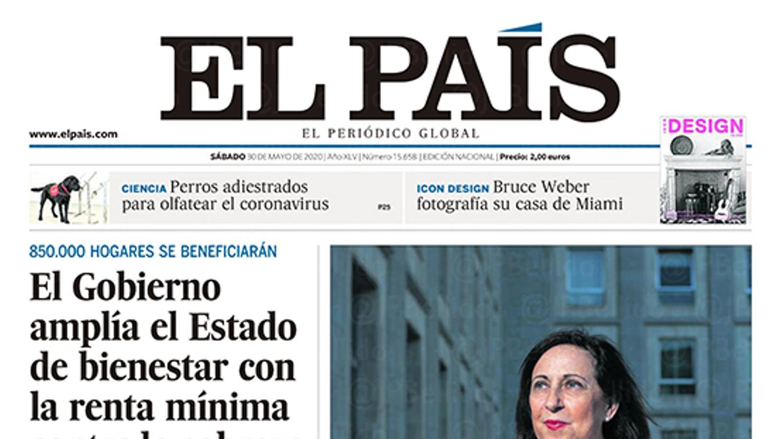 La portada d''El País'  del 31 de maig de 2020