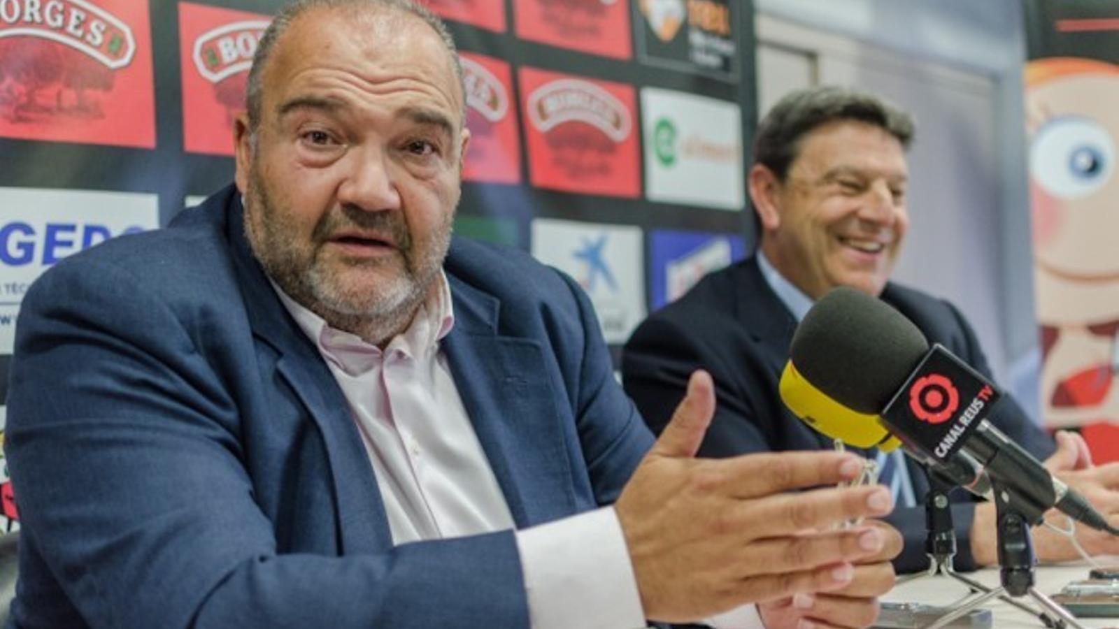 Joan Oliver i Xavier Llastarri, màxim accionista i president del Reus Deportiu, respectivament