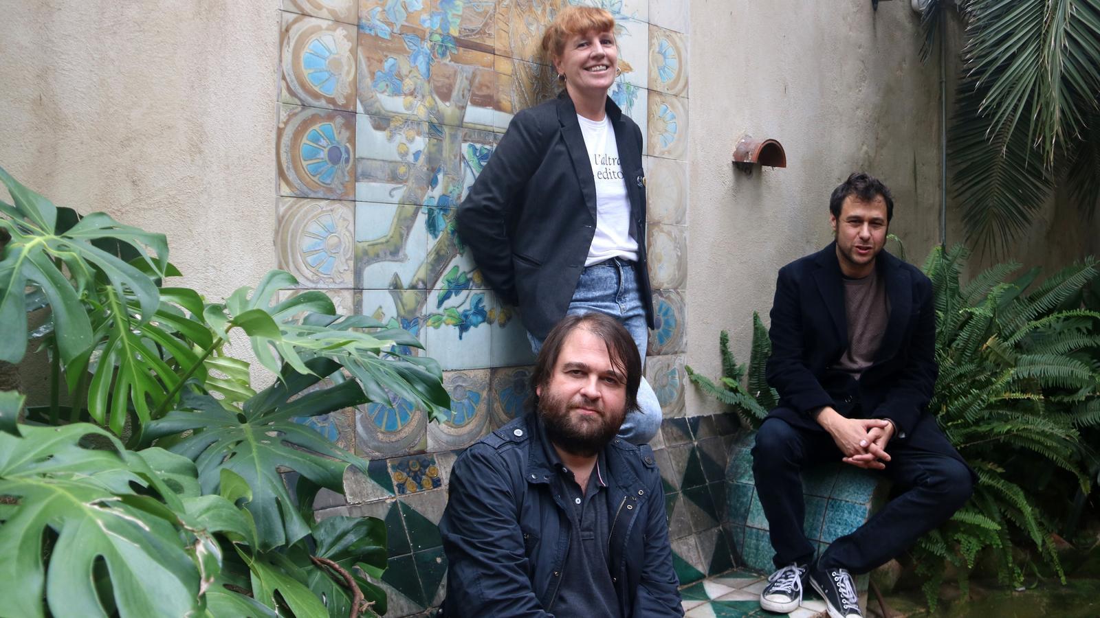Els editors de Les Altres Herbes, Ricard Planas, Eugènia Broggi i Ramon Mas
