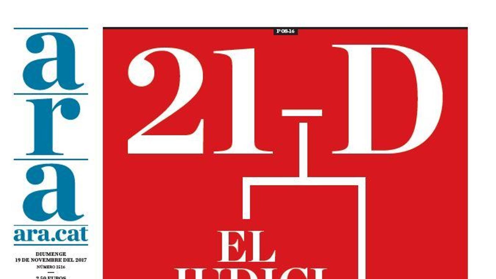 """""""21-D: el judici de les urnes"""", portada de l'ARA"""