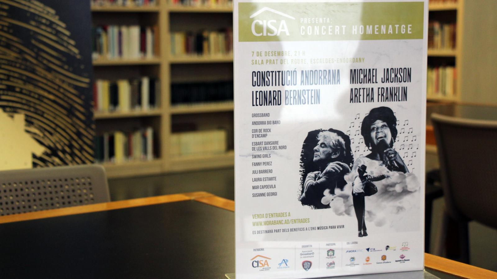 Cartell del concert homenatge a la Constitució Andorrana, Leonard Bernstein, Michael Jackson i Aretha Franklin, organitzat per l'Associació Gross Band. / T. N. (ANA)