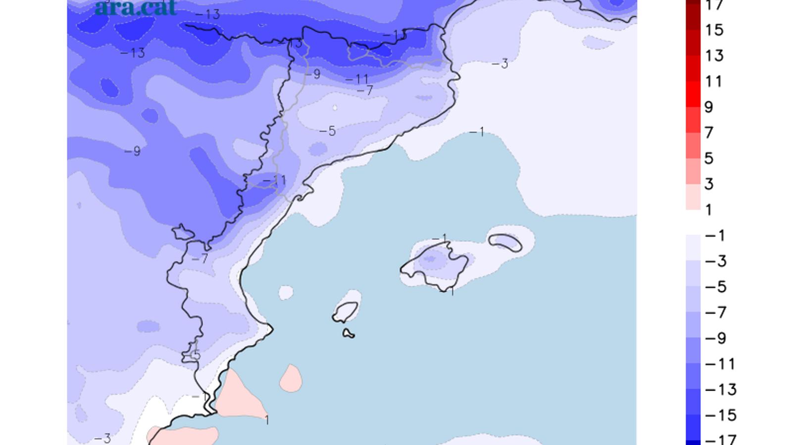 Diferència prevista entre la temperatura màxima d'avui i la de dimecres