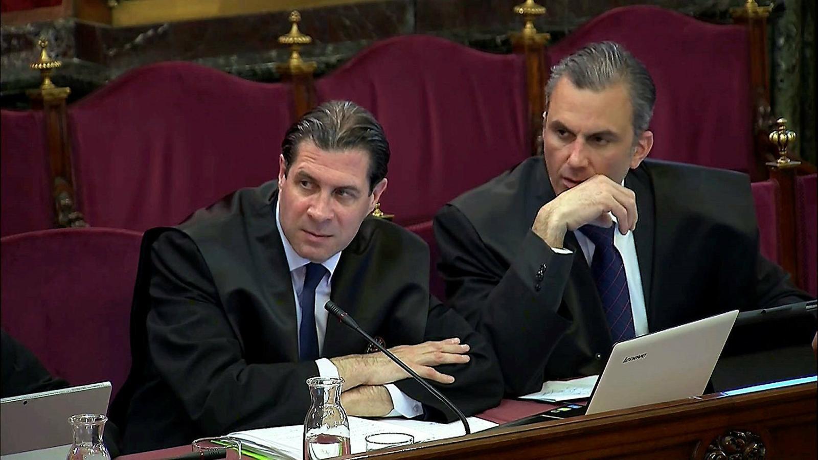 Els advocats de Vox al judici, Ortega Smith (dreta) i Pedro Fernández.
