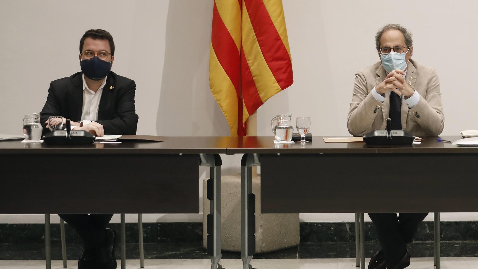 Aragonès i  Torra aquest dimarts en la reunió del Consell Executiu.