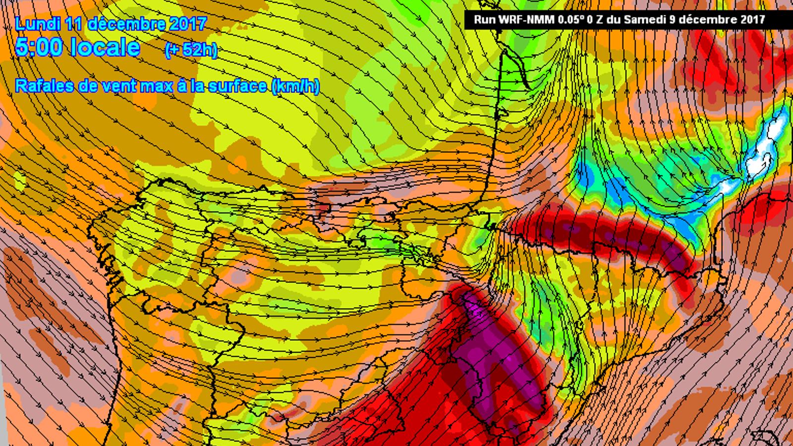 Ratxes de vent (km/h) previstes dilluns a les 6 del matí