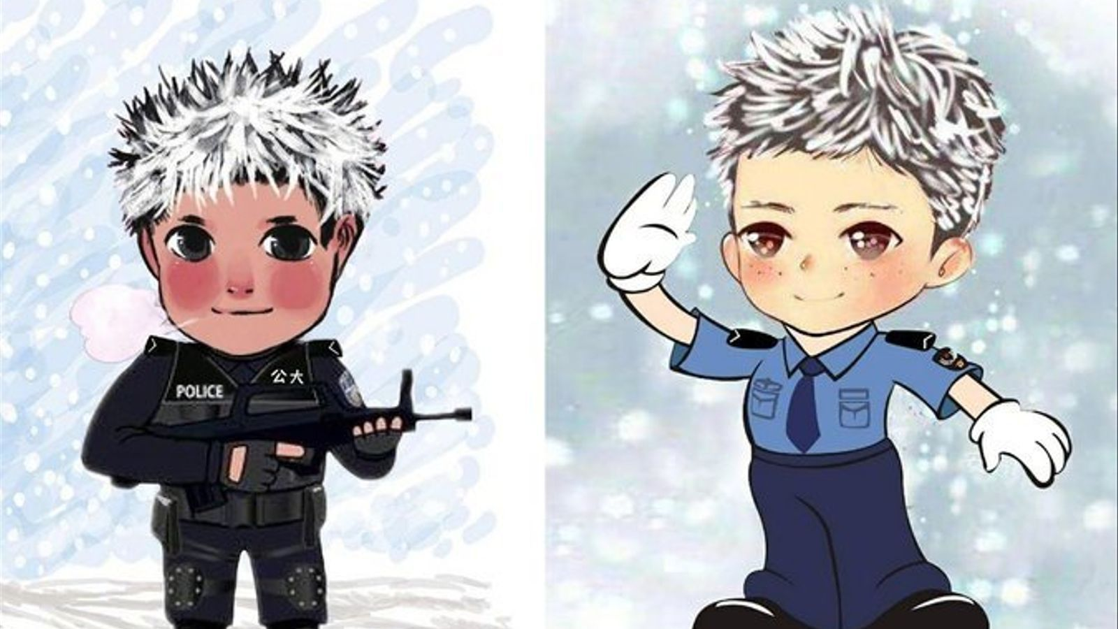 Usuaris d'Internet van fer dibuixos del 'nen de gel' vestit de policia, un dels seus somnis
