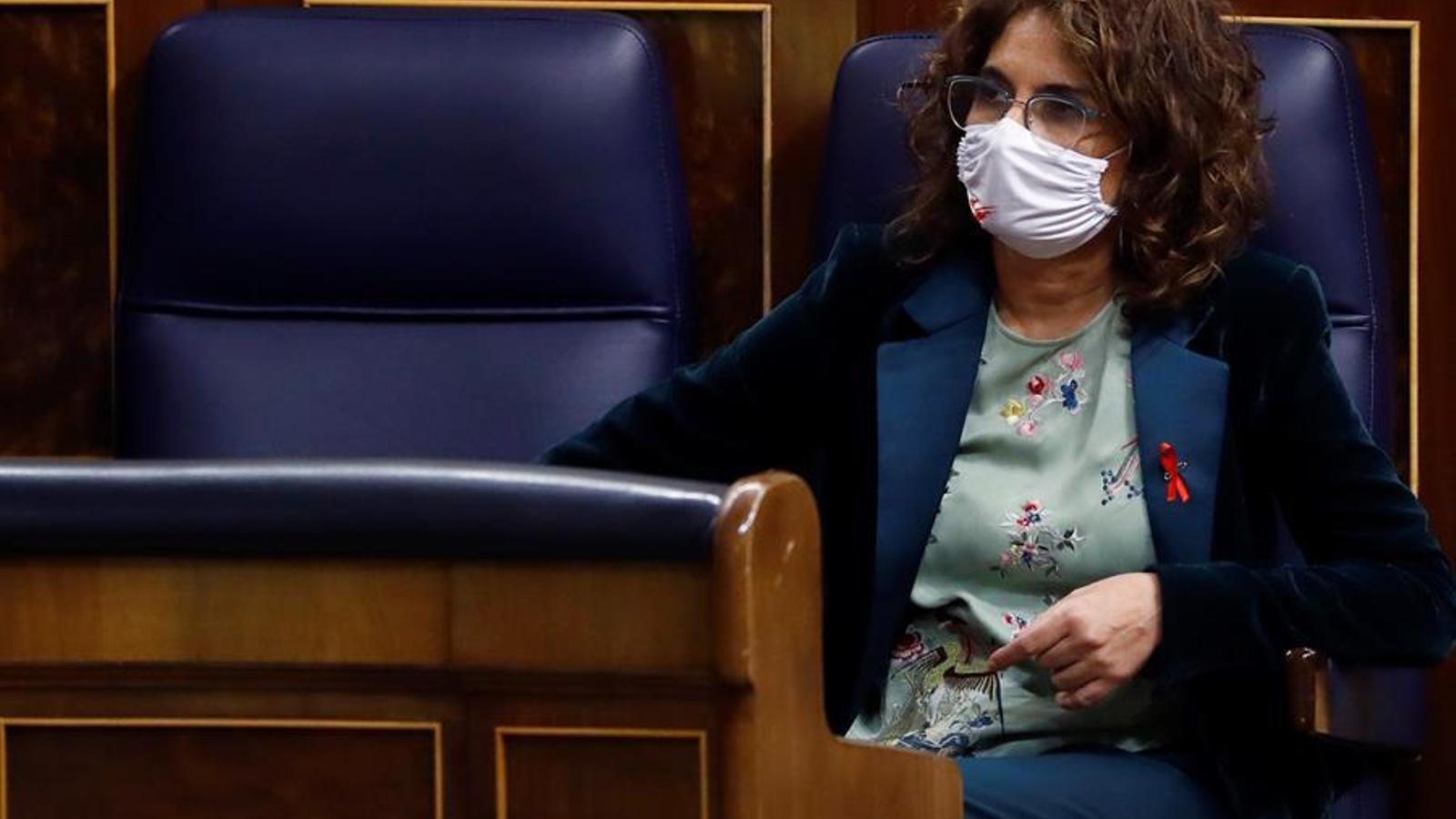 La ministra d'Hisenda, Maria Jesús Montero, ahir al Congrés dels Diputats.