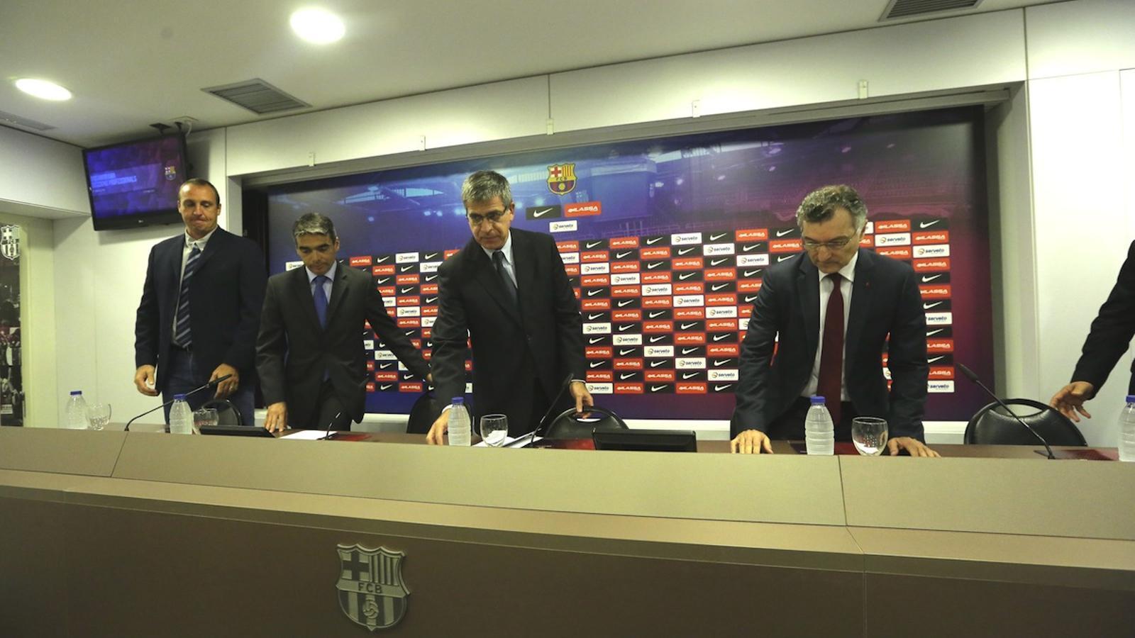 David Barrufet, Albert Soler, Jordi Mestre i Joan Creus, durant la roda de premsa / MANOLO GARCÍA