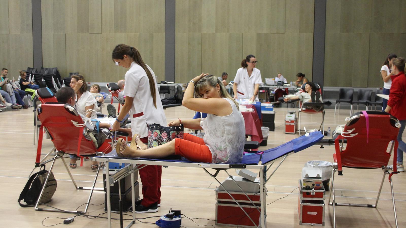 Moment de la campanya de donació de sang al Prat del Roure. / C. A.