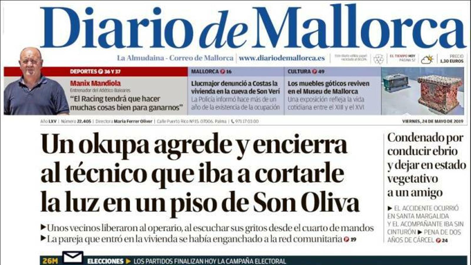 """""""Batet menysté el Suprem per no suspendre els presos"""", portada de 'Diario de Mallorca'"""