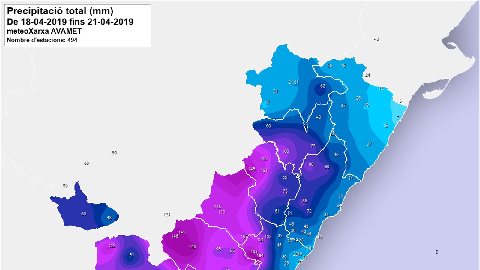 Precipitació acumulada entre els dies 18 i 21 d'abril al País Valencià