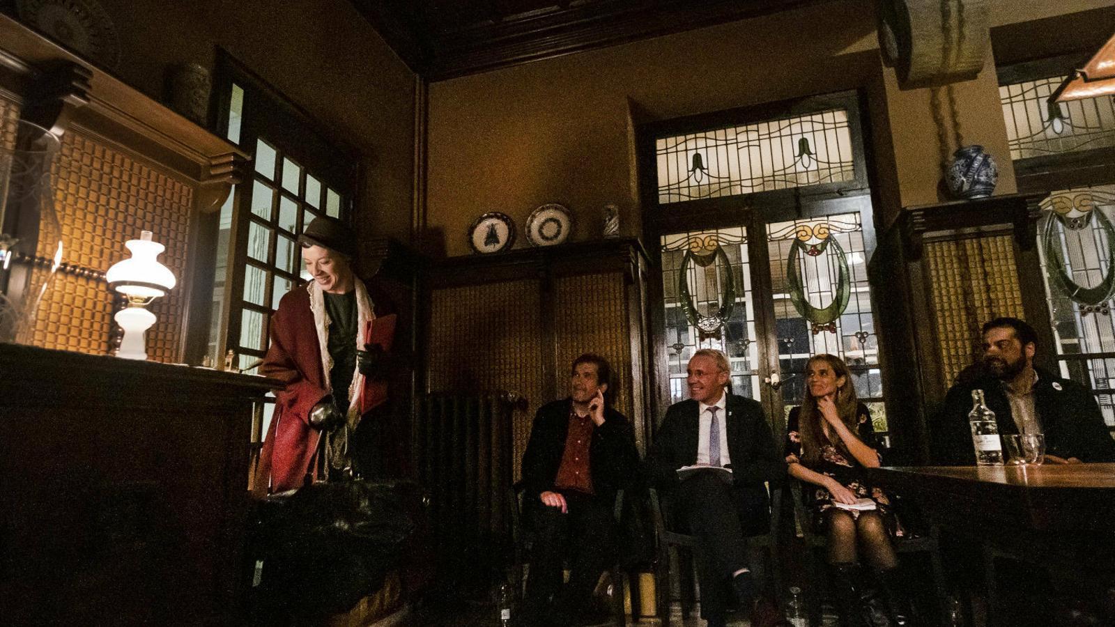 Imatge de l'acte de presentació  del llibre a  la Casa Masó.