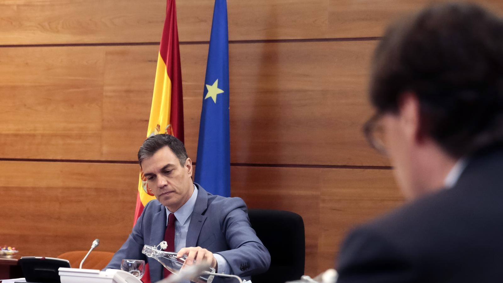El president del govern espanyol, Pedro Sánchez, durant la reunió del consell de ministres d'aquest dimarts.