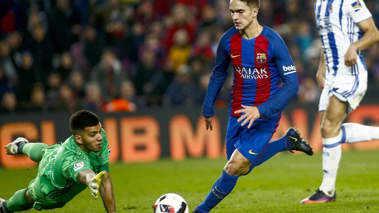 Denis Suárez, superant al porter de la Reial Societat al Camp Nou