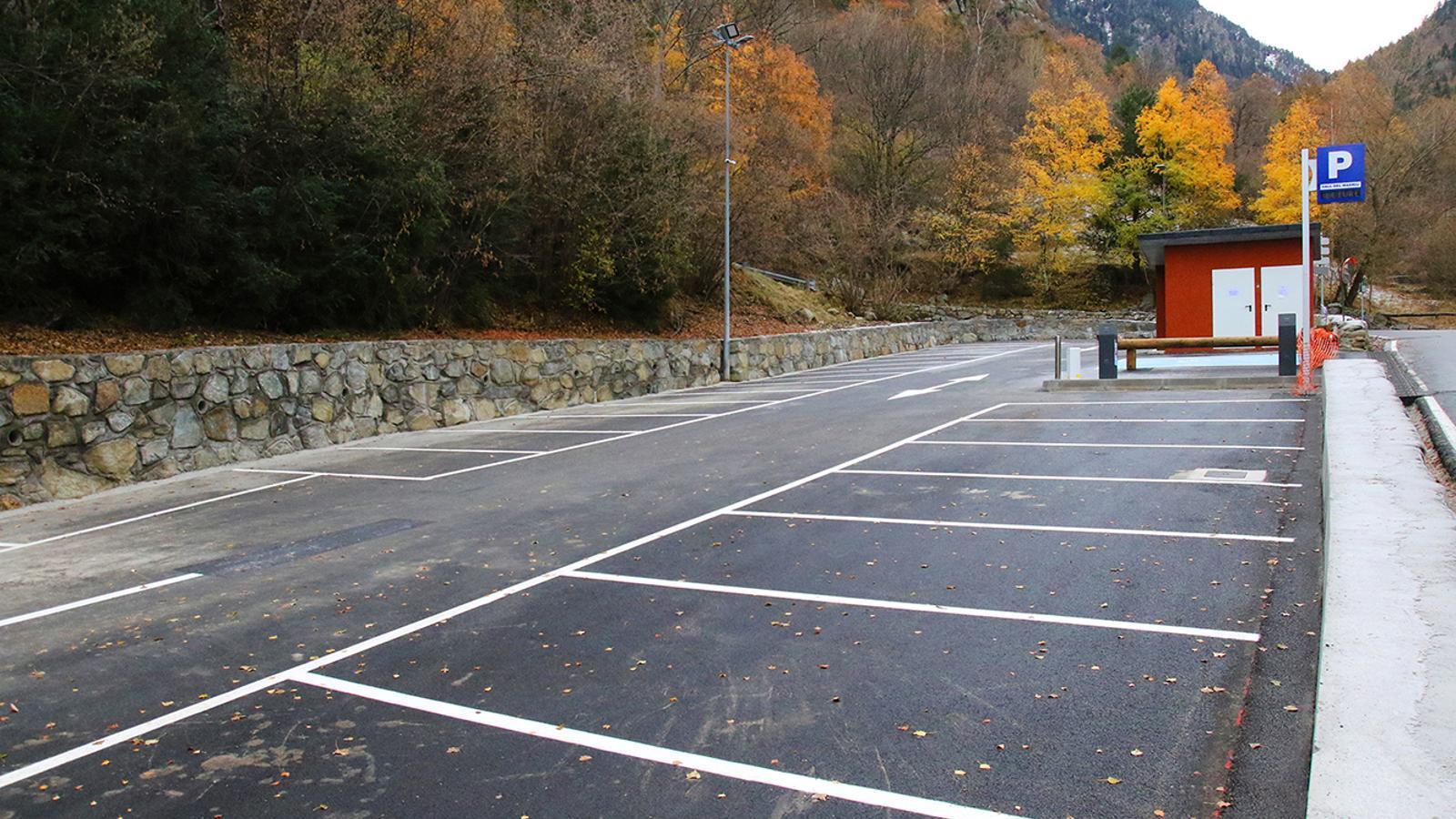 L'aparcament que es troba ubicat a l'entrada de la vall del Madriu. / COMÚ D'ESCALDES-ENGORDANY