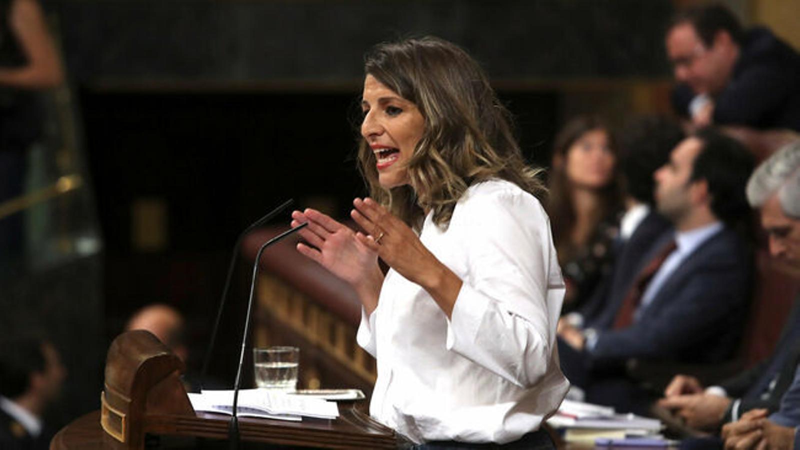 La ministra de Treball, Yolanda Díaz, en el Congrés de Diputats.