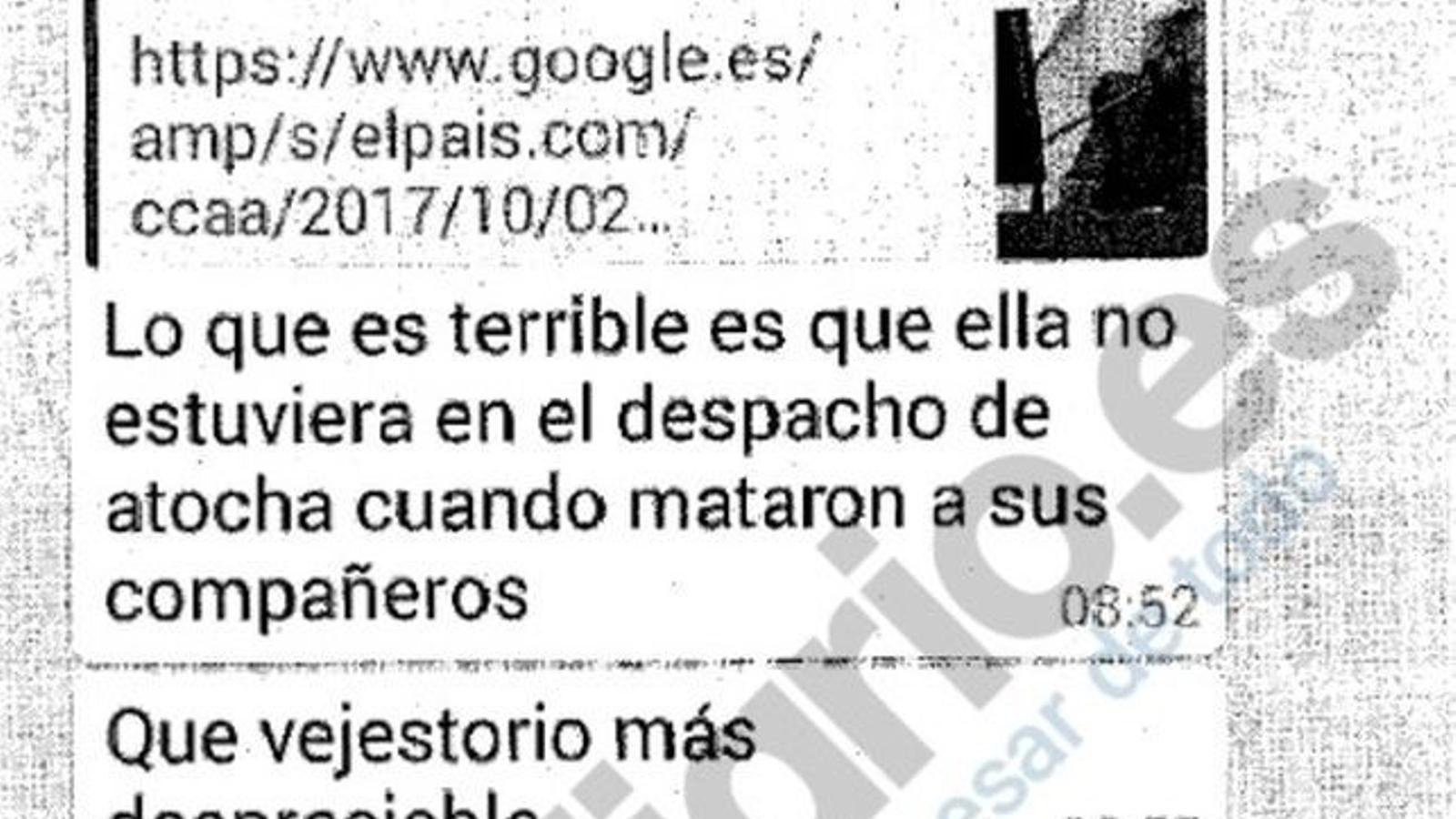 Xat de Whatsapp d'un grup de policies municipals de Madrid insultant Carmena al qual ha tingut accés Eldiario.es