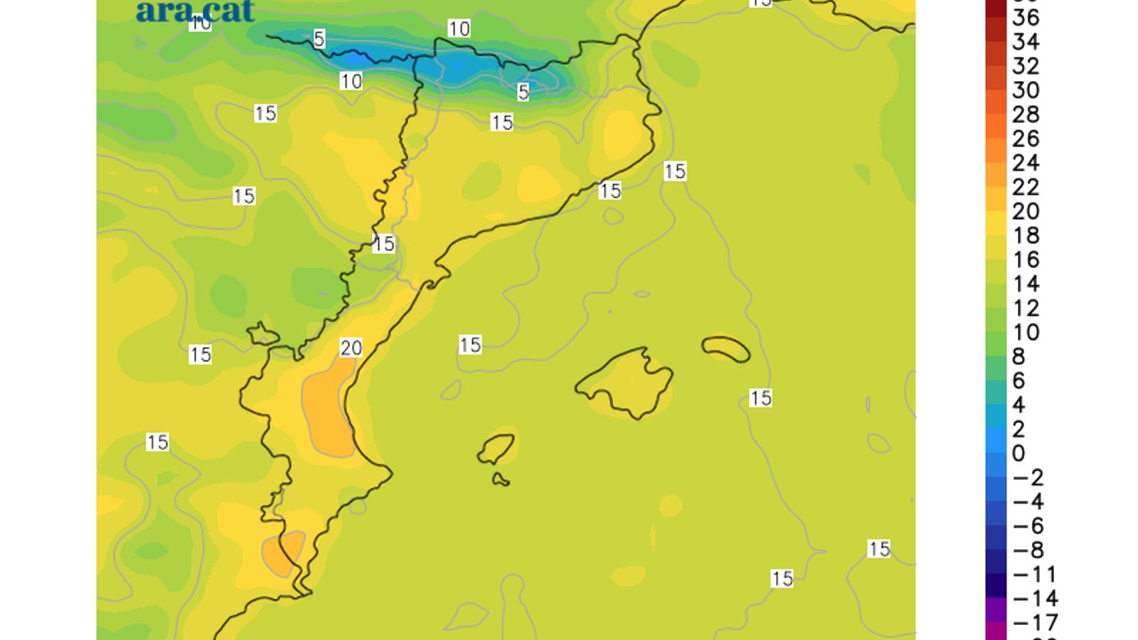 Temperatura màxima prevista per demà