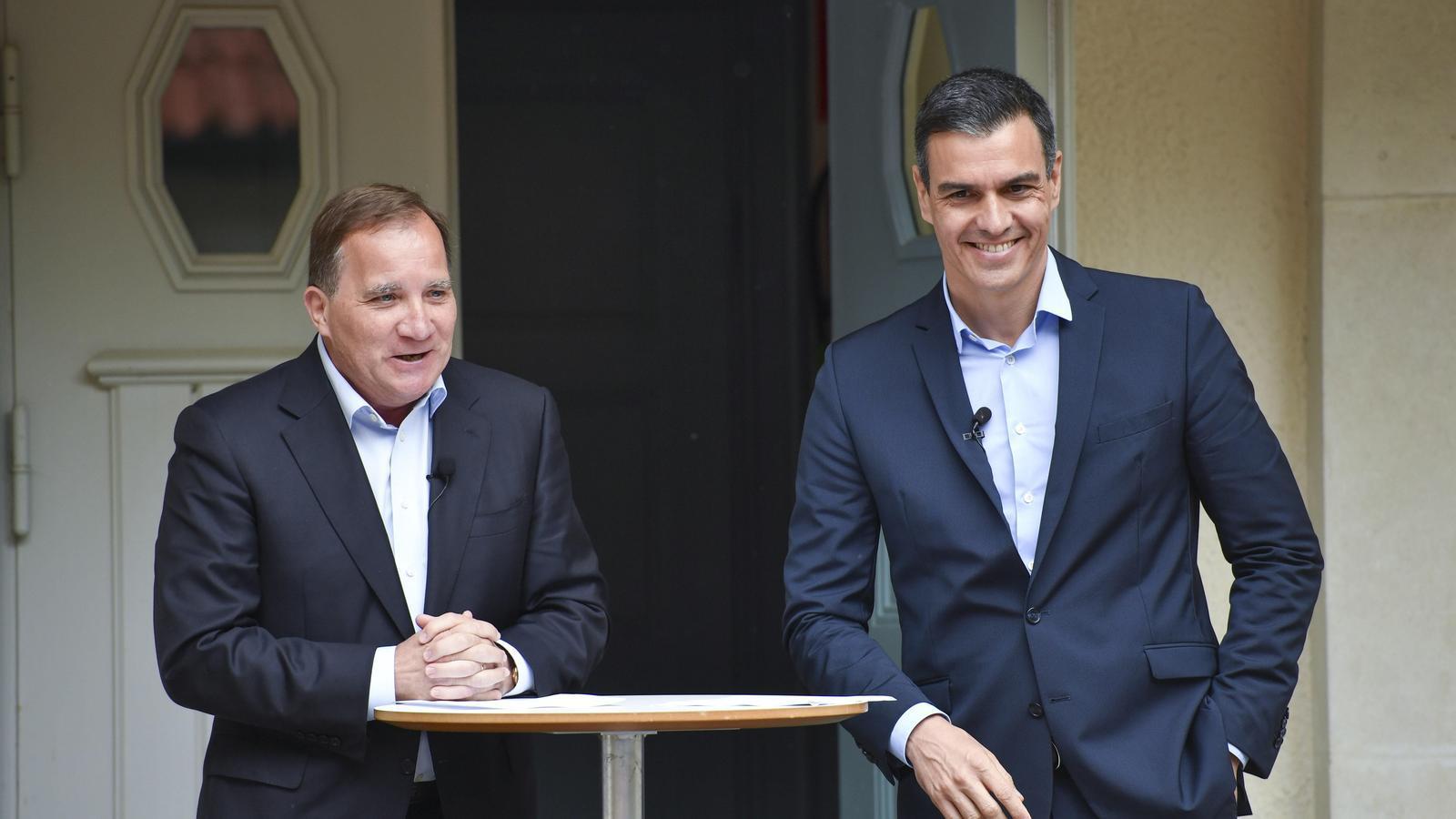 El primer ministre suec, Stefan Löfven, i el president del govern espanyol, Pedro Sánchez, aquest dimecres després de reunir-se.