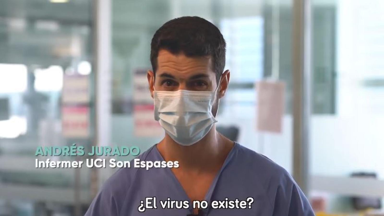 Fotograma del primer vídeo, 'El coronavirus no existeix'
