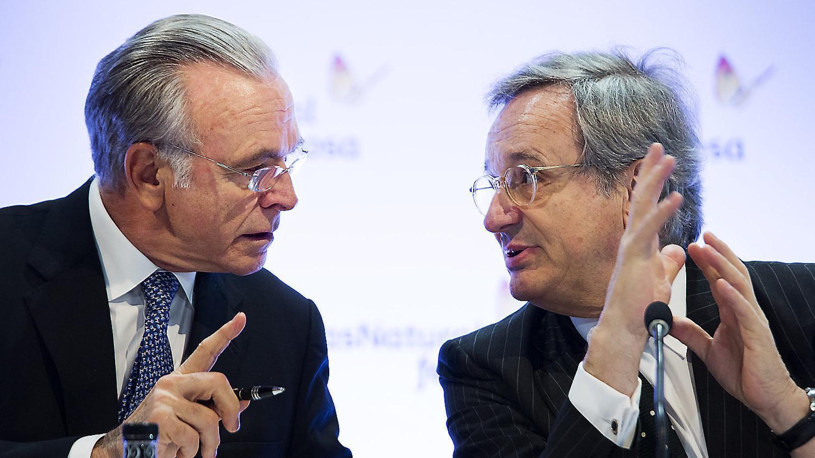 Isidre Fainé (esquerra), president de Gas Natural, i Rafael Villaseca, conseller delegat.