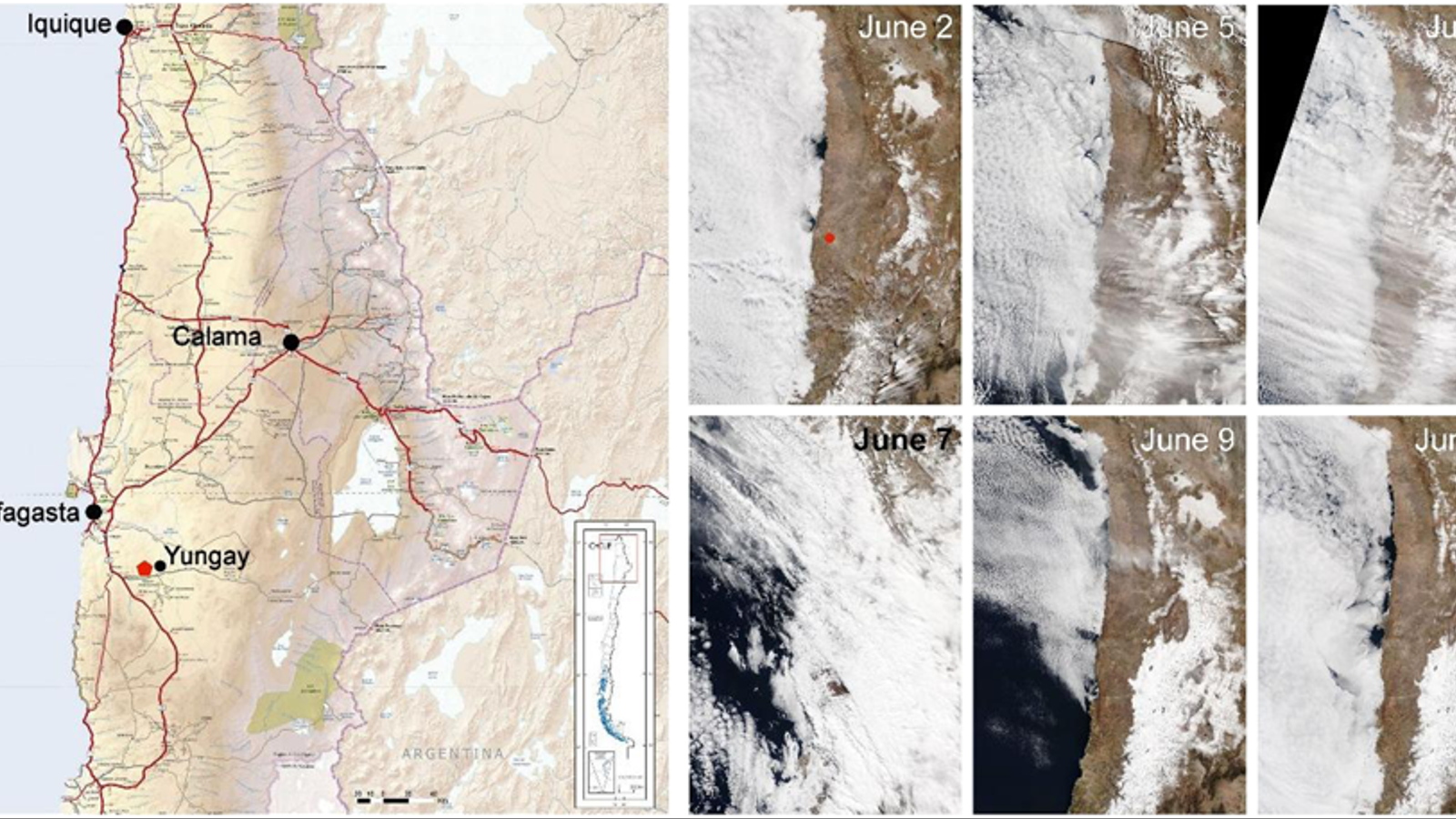 A l'esquerra, el punt vermell mostra la localització de les noves llacunes formades arran de les precipitacions. Els mapes de la dreta plasmen l'arribada de les pluges a Atacama: del dia 2 de juny, que mostra un dia estàndard al desert, al dia 7, quan entra una gran massa de núvols provinents de l'oceà Pacífic