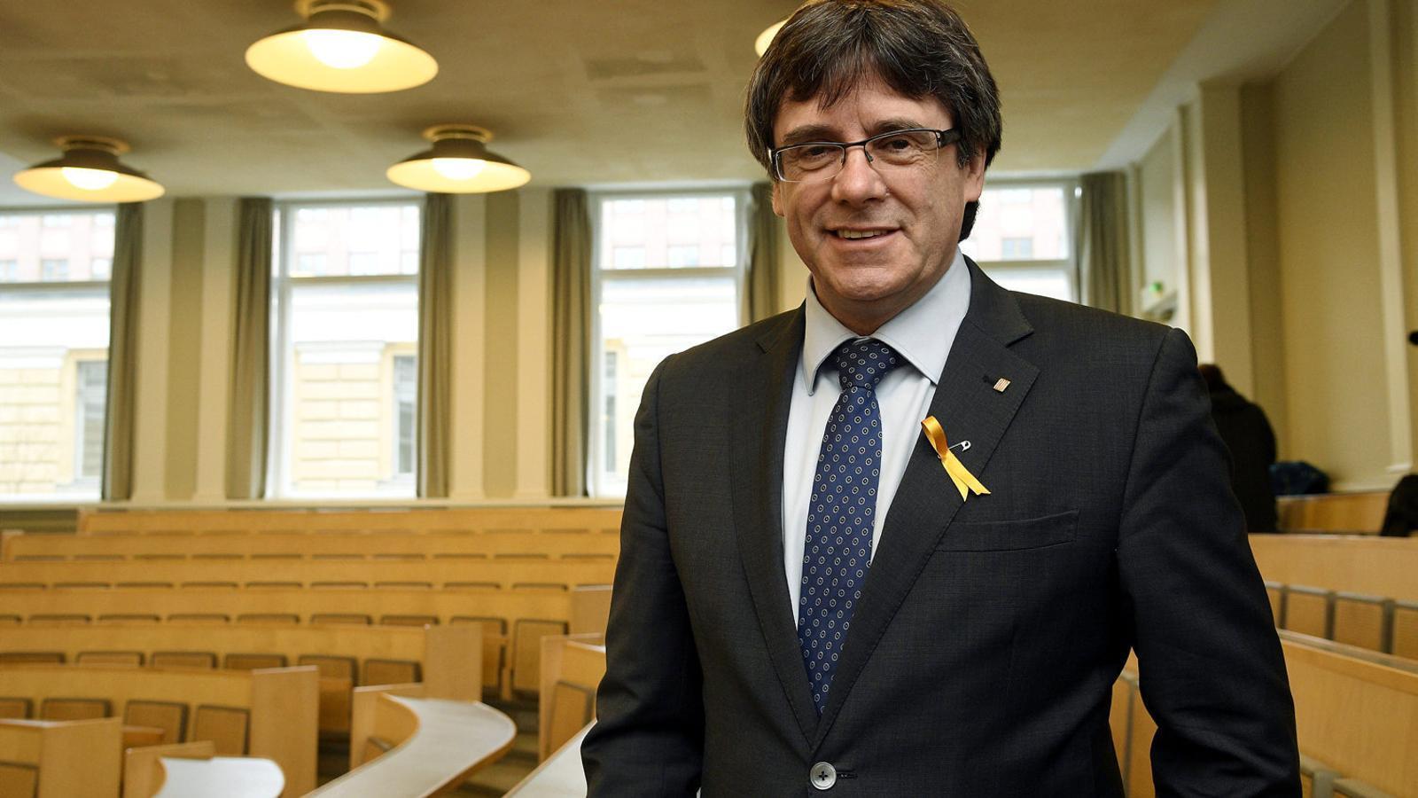 El president de la Generalitat, Carles Puigdemont, va pronunciar una conferència a la Universitat de Helsinki.