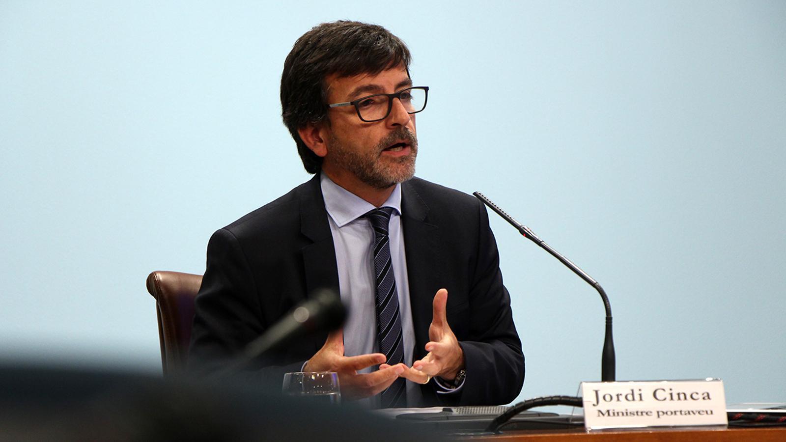 El ministre portaveu, Jordi Cinca, durant la roda de premsa d'aquest dimecres posterior al consell de ministres. / M. M. (ANA)