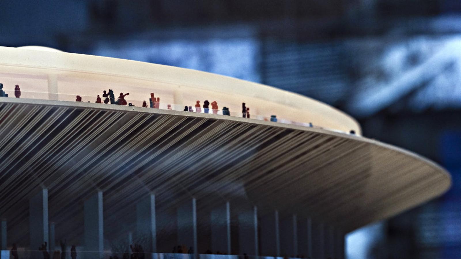 Fotografia de la maqueta del nou Camp Nou, que s'ha de començar a construir el 2019.