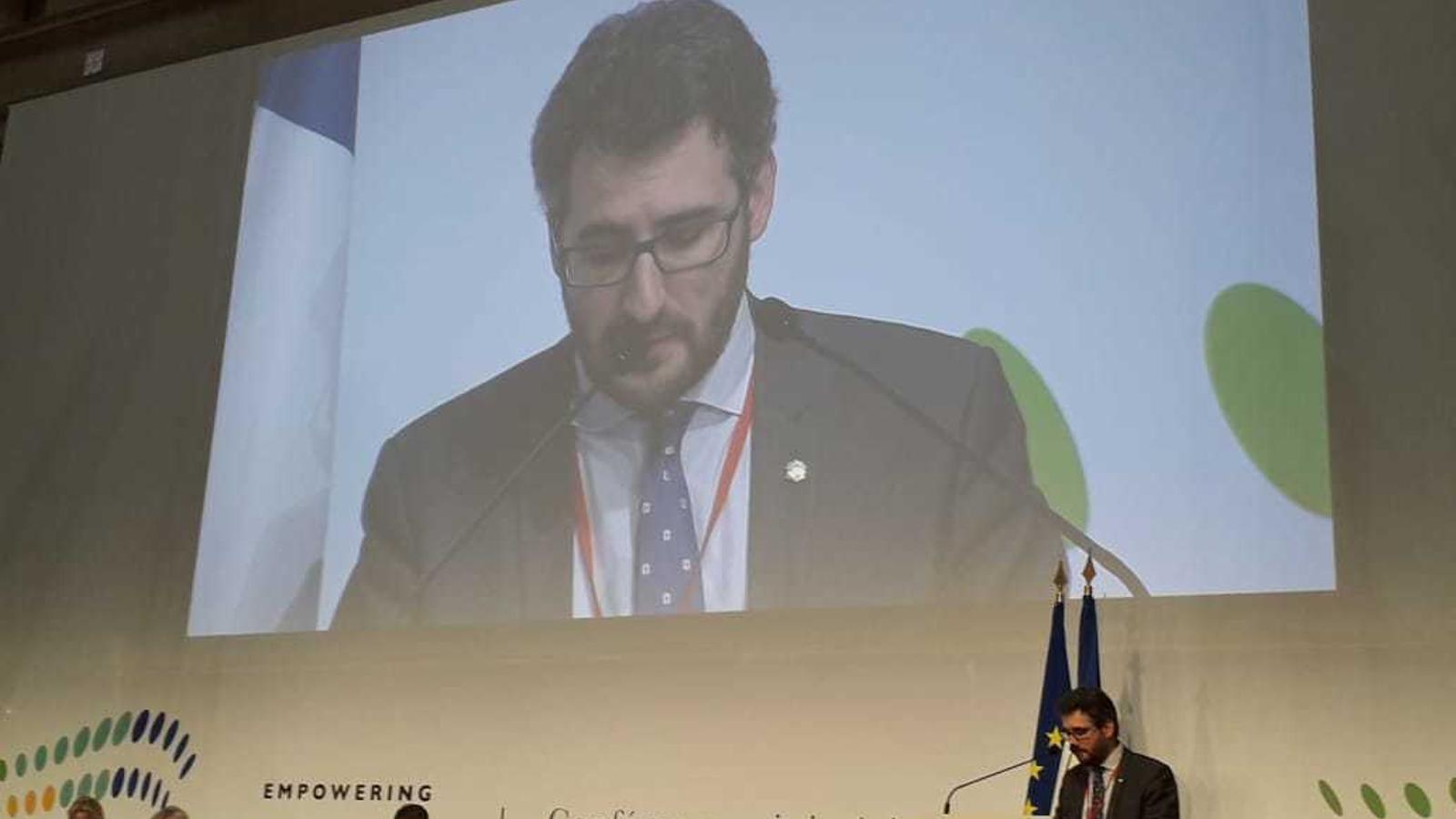 El ministre d'Educació, Ensenyament Superior i Recerca, Eric Jover, durant la seva intervenció a la conferència ministerial sobre el procés de Bolonya que se celebra a París. / SFG