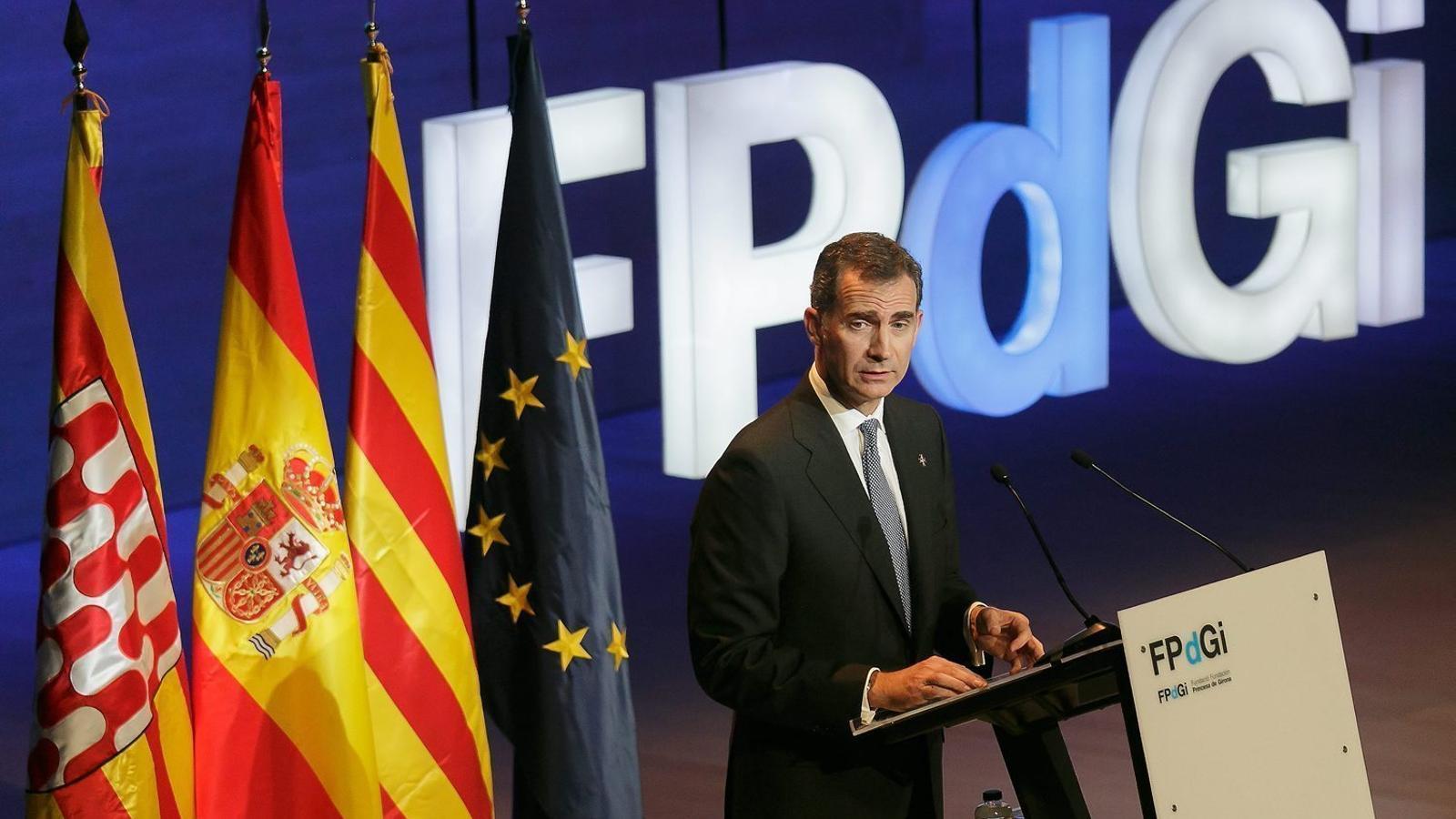 Felip VI durant l'entrega dels premis de la Fundació Princesa de Girona