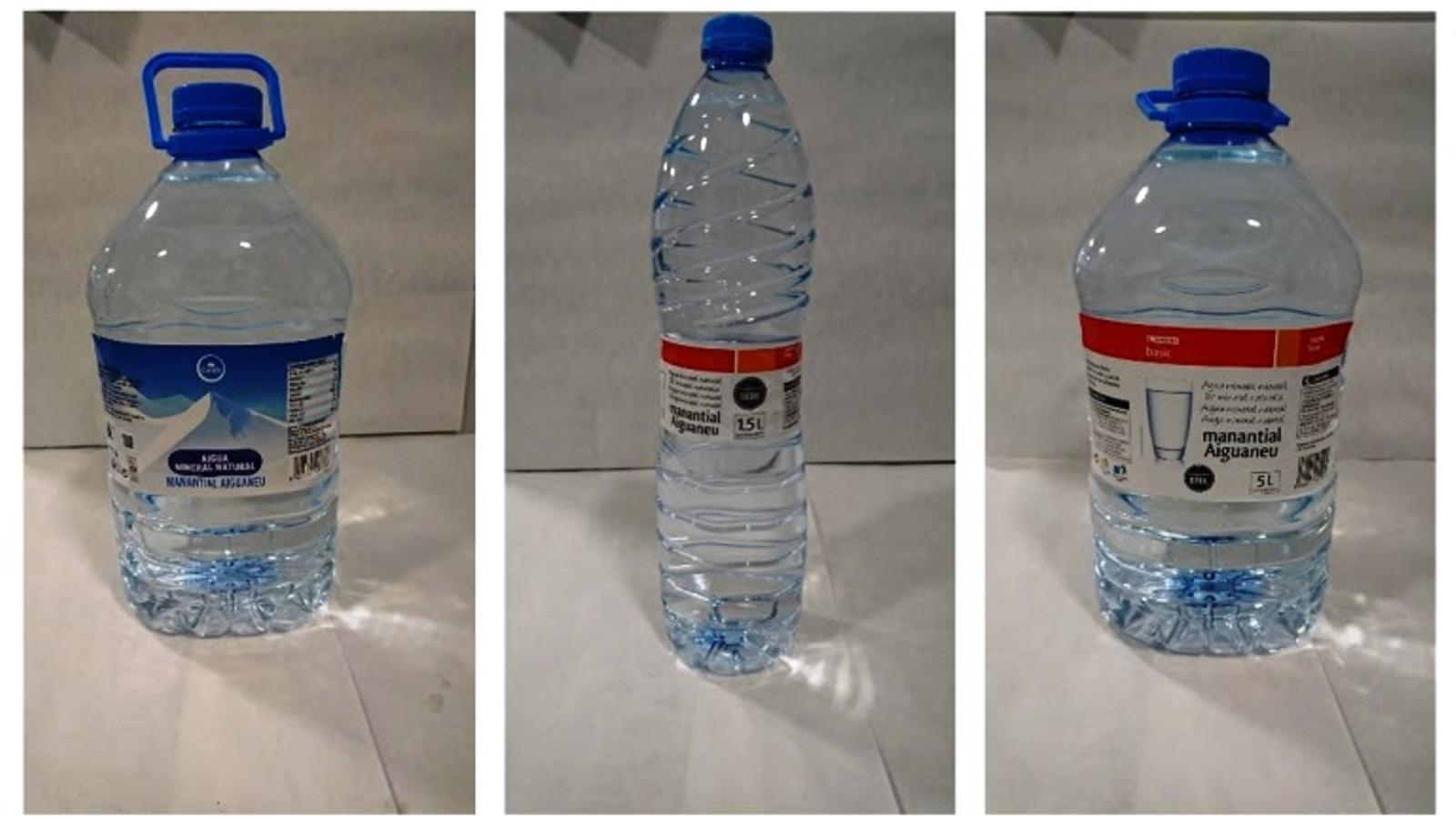 Les garrafes de cinc litres de Condis i Eroski i les ampolles d'un litre i mig d'Eroski, afectades