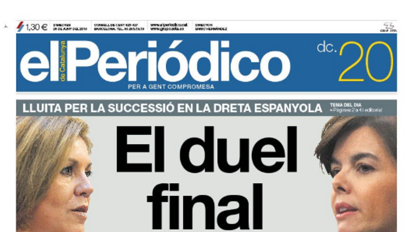 """""""El declivi demogràfic s'accentua a Espanya amb una xifra rècord de mortalitat"""", portada d''El País'"""