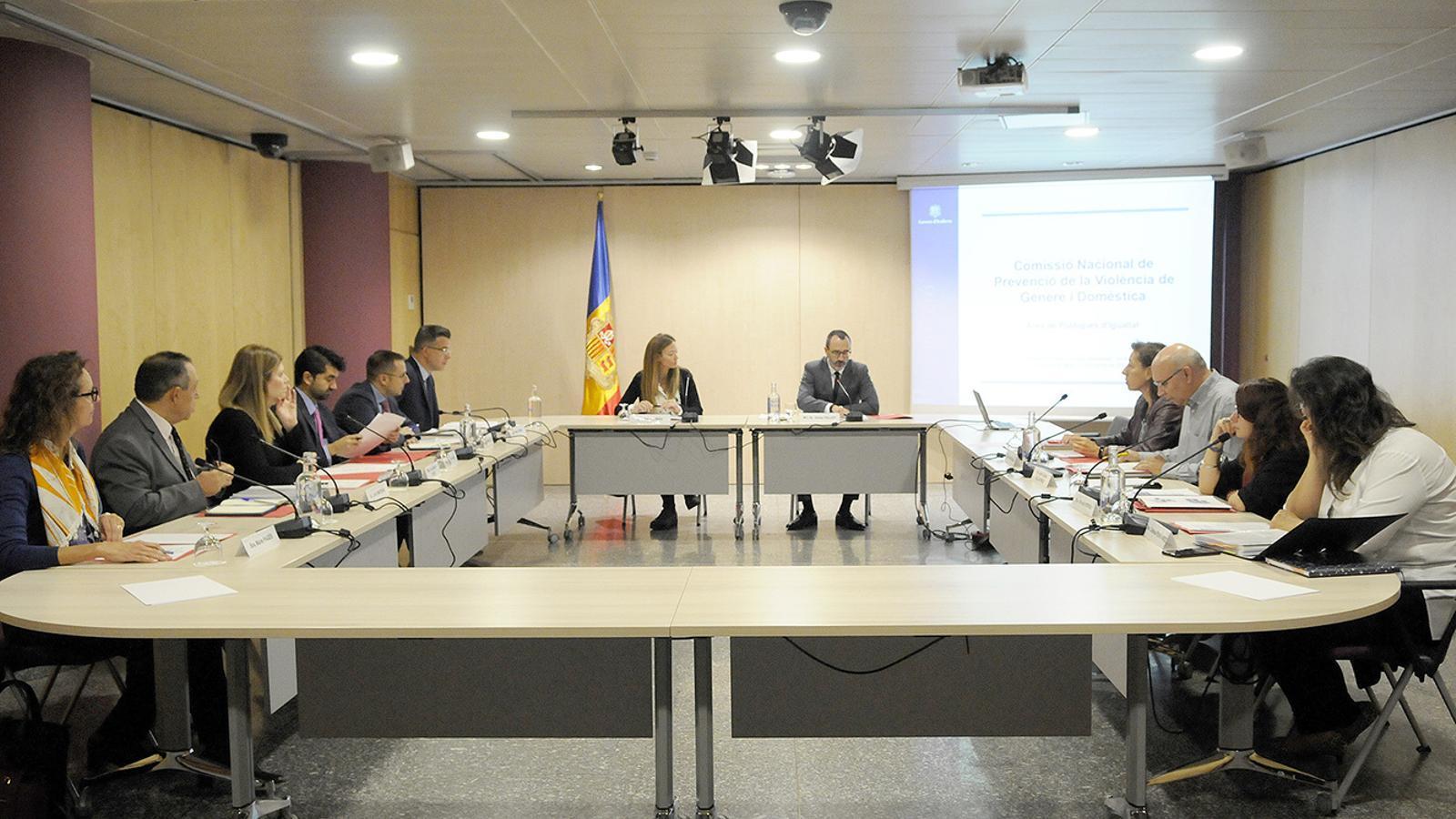 Un moment de la reunió de la comissió nacional de prevenció de la violència de gènere i domèstica. / SFG