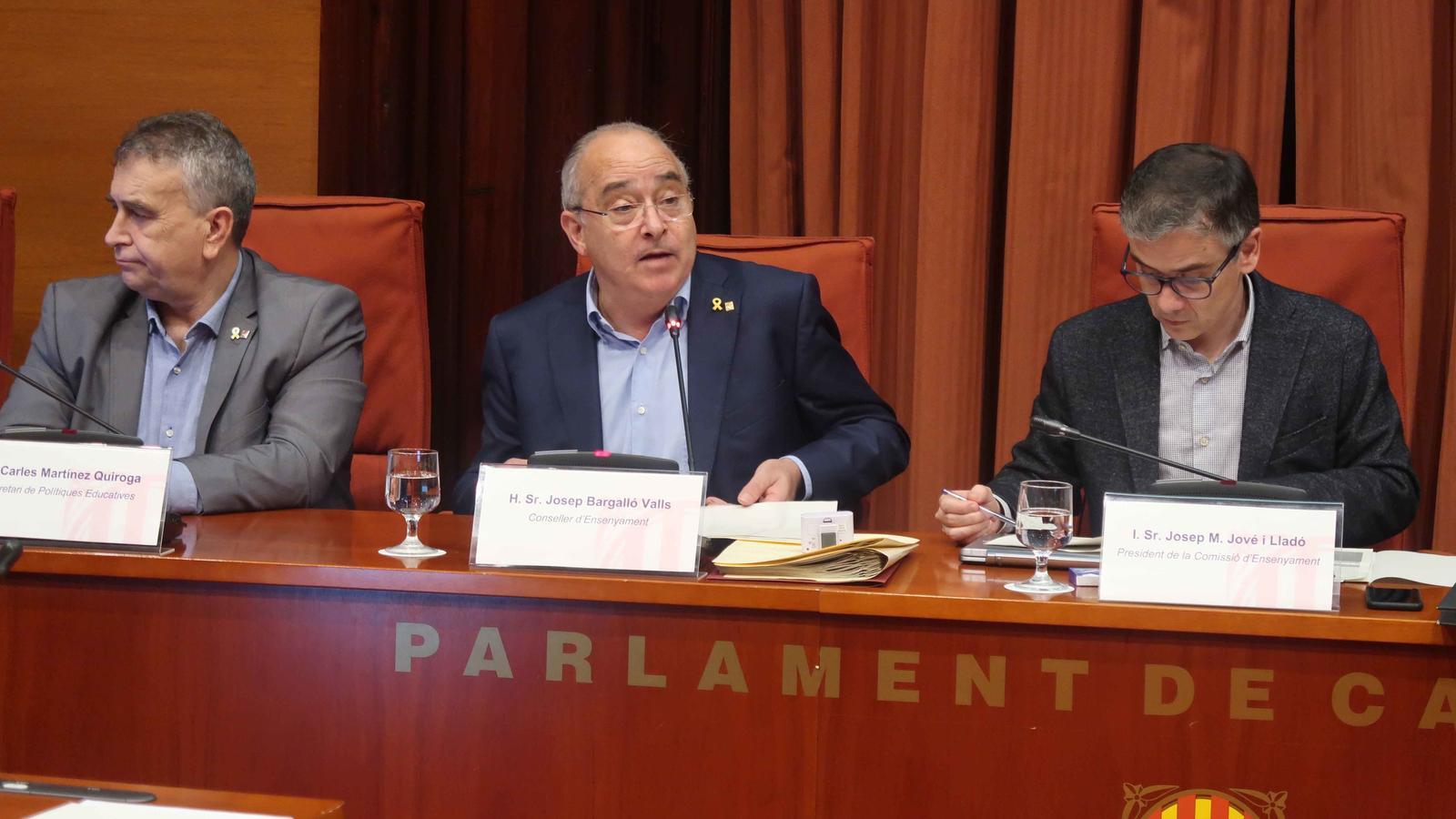 El conseller d'Educació, Josep Bargalló, en la compareixença al Parlament