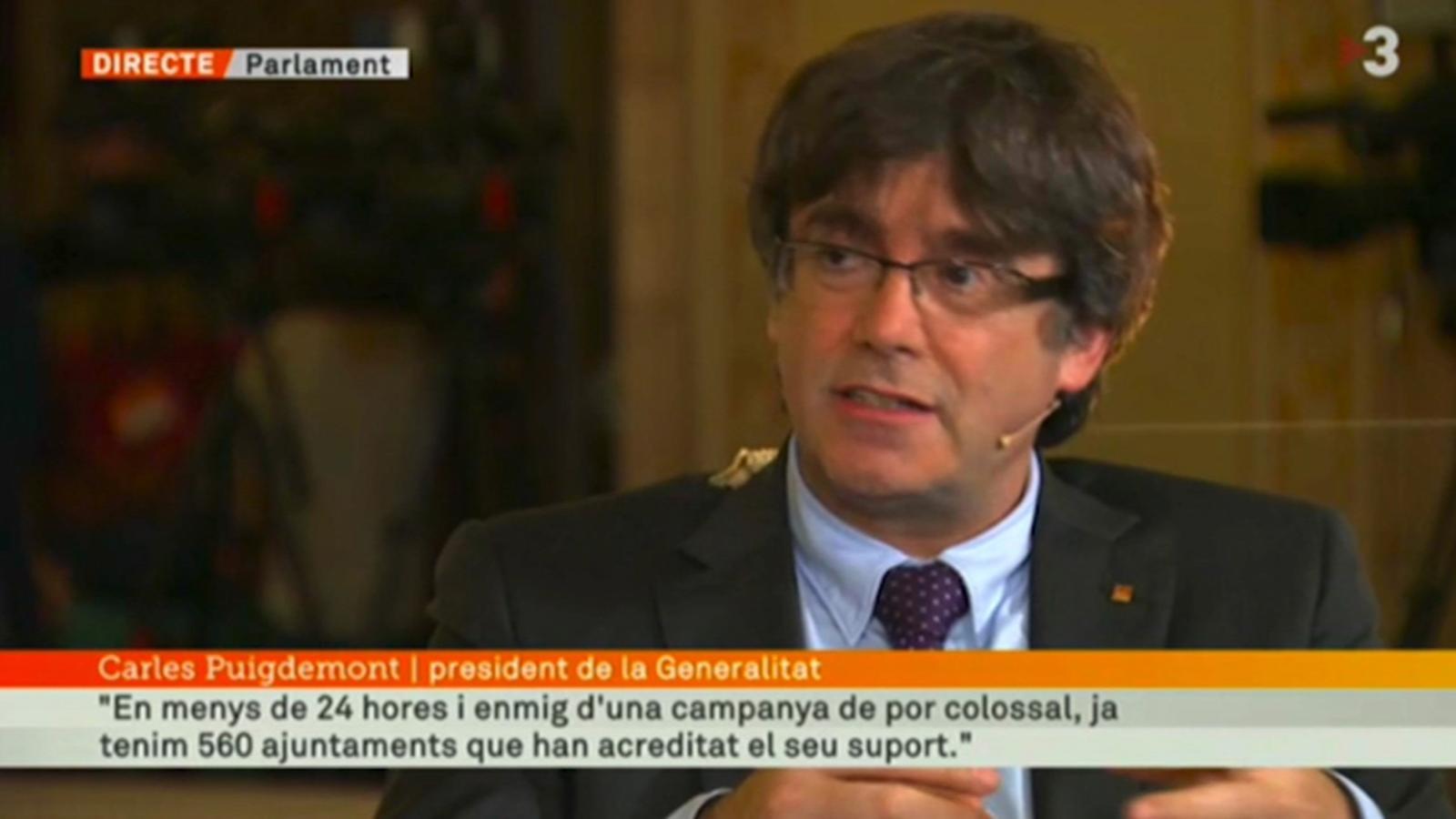 Puigdemont: En menys de 24 hores ja tenim 16.000 col·laboradors i més de 560 ajuntaments que ja han acreditat el seu suport