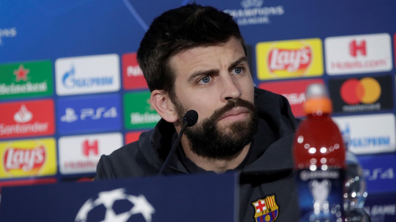 Gerard Piqué en la roda de premsa prèvia al Nàpols-Barça