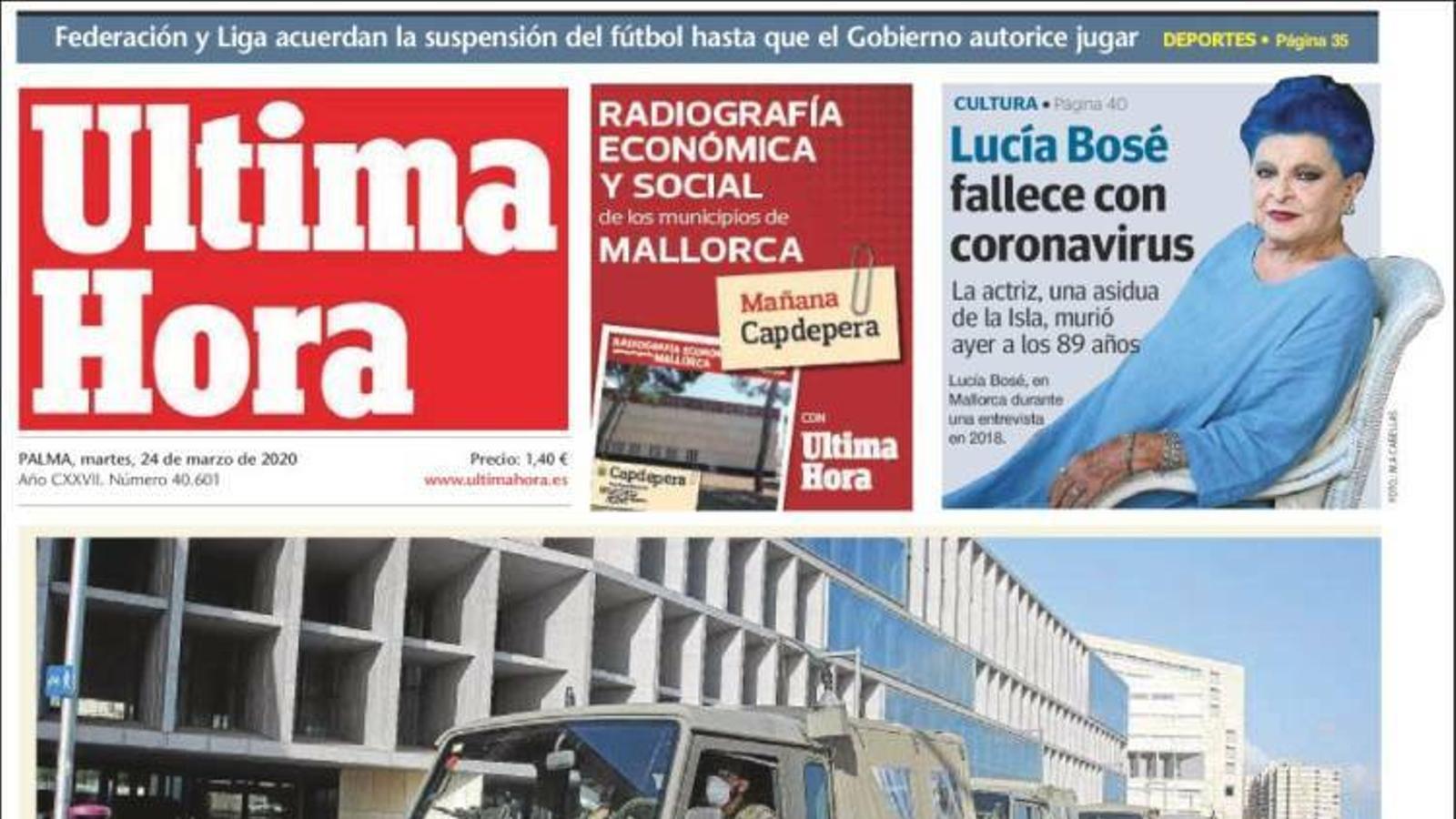 """Un informe del CSIC va alertar al gener que el virus era letal"", portada de 'La Razón'"