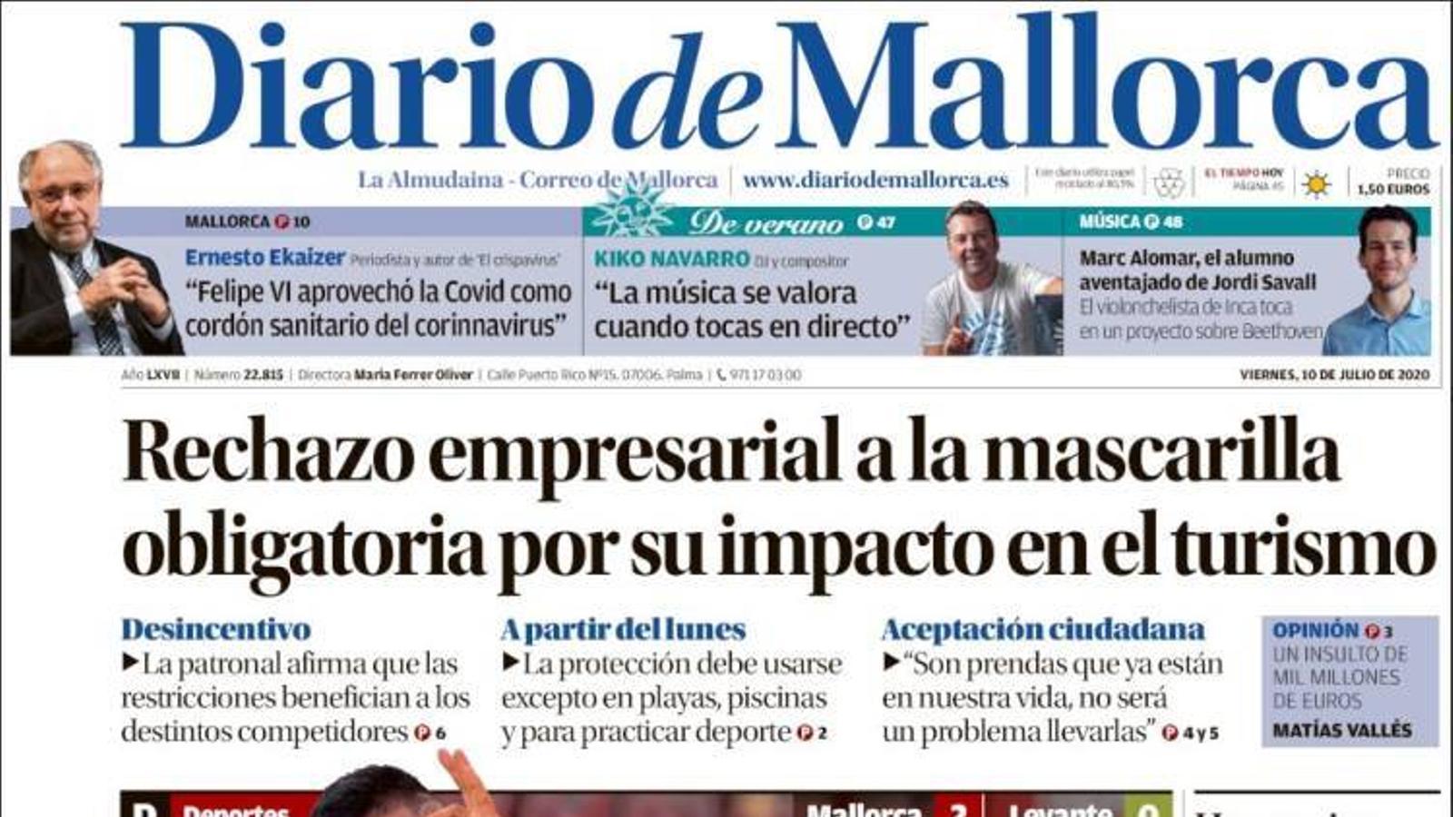 """""""Rebuig empresarial a la mascareta obligatòria pel seu impacte en el turisme"""", portada de 'Diario de Mallorca'"""