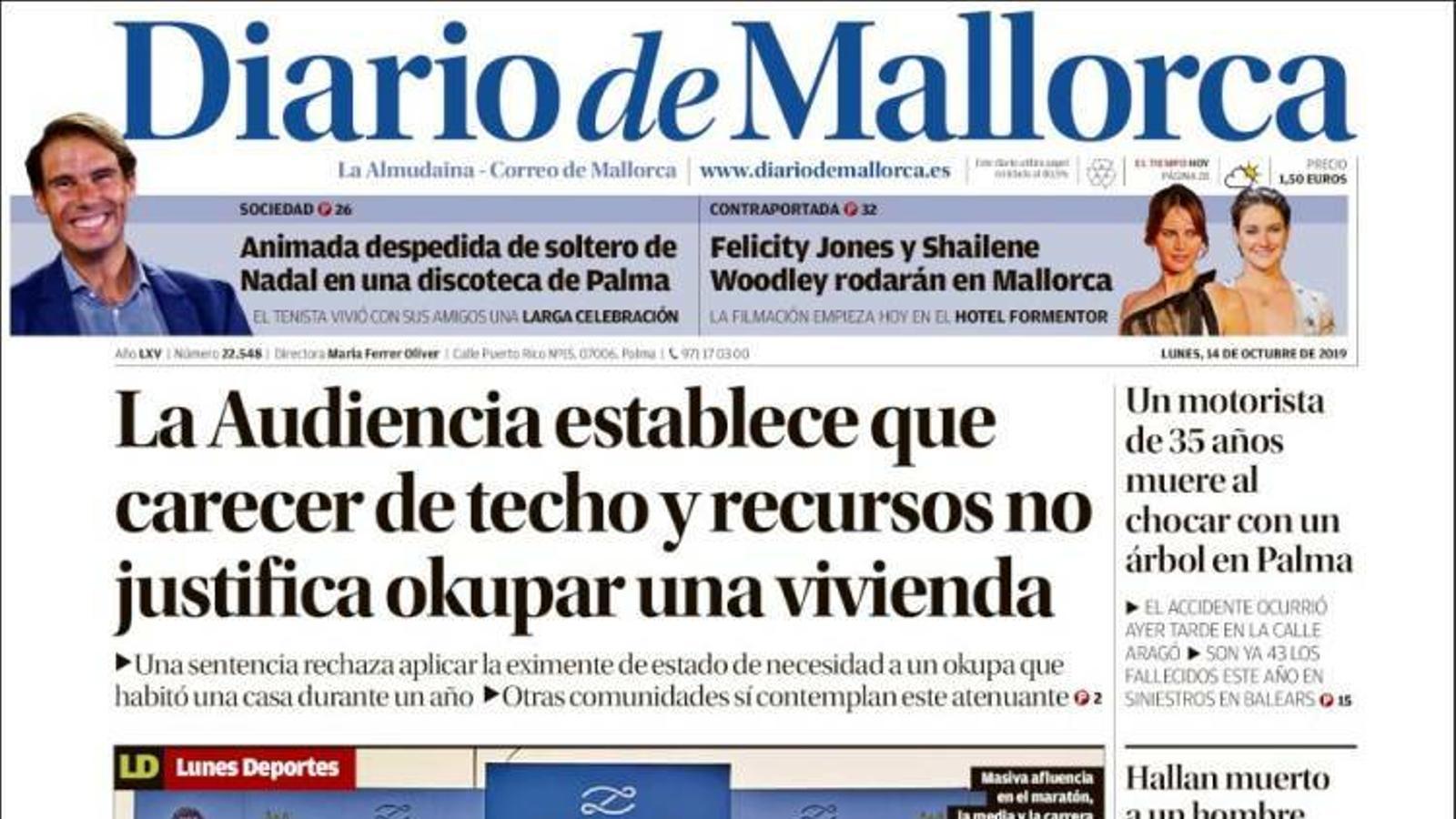 """""""L'Audiència estableix que estar mancat de sostre i recursos no justifica ocupar un habitatge"""", a la portada de 'Diario de Mallorca'"""