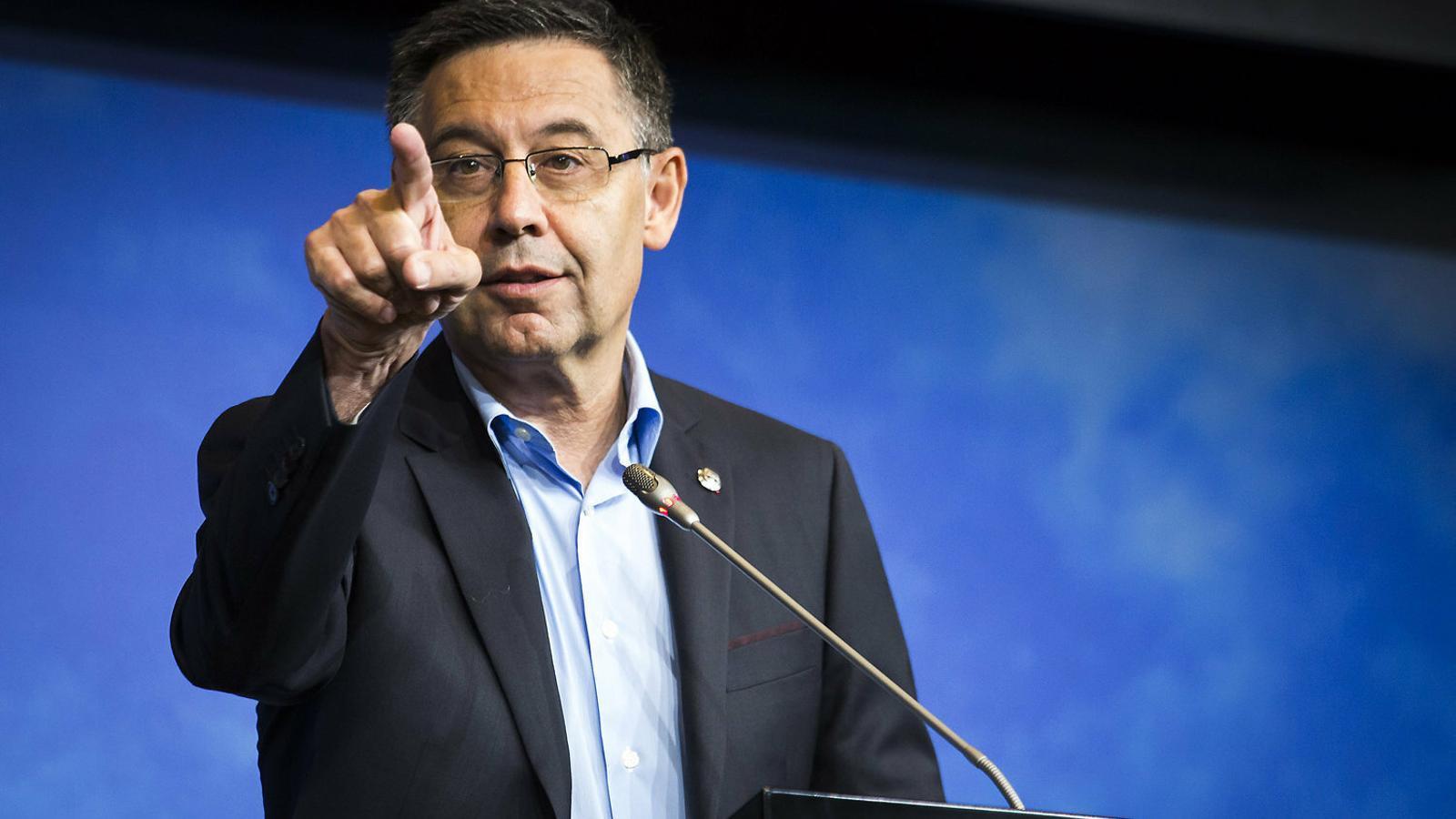 El president del Barça, Josep Maria Bartomeu, en una imatge d'arxiu d'aquesta temporada durant la seva compareixença en la presentació de De Jong.