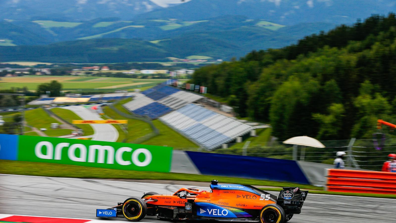 Carlos Sainz durant els entrenaments lliures del circuit d'Àustria