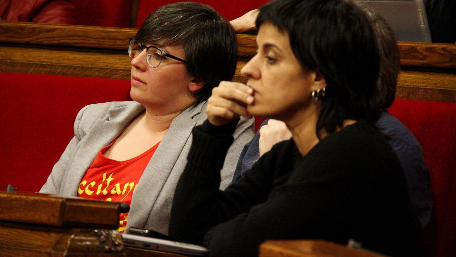 Les diputades de la CUP Anna Gabriel i Mireia Boya, al ple del Parlament / ACN