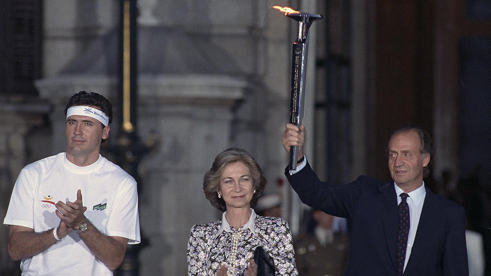 El rei emèrit amb la torxa olímpica a Madrid (1992).