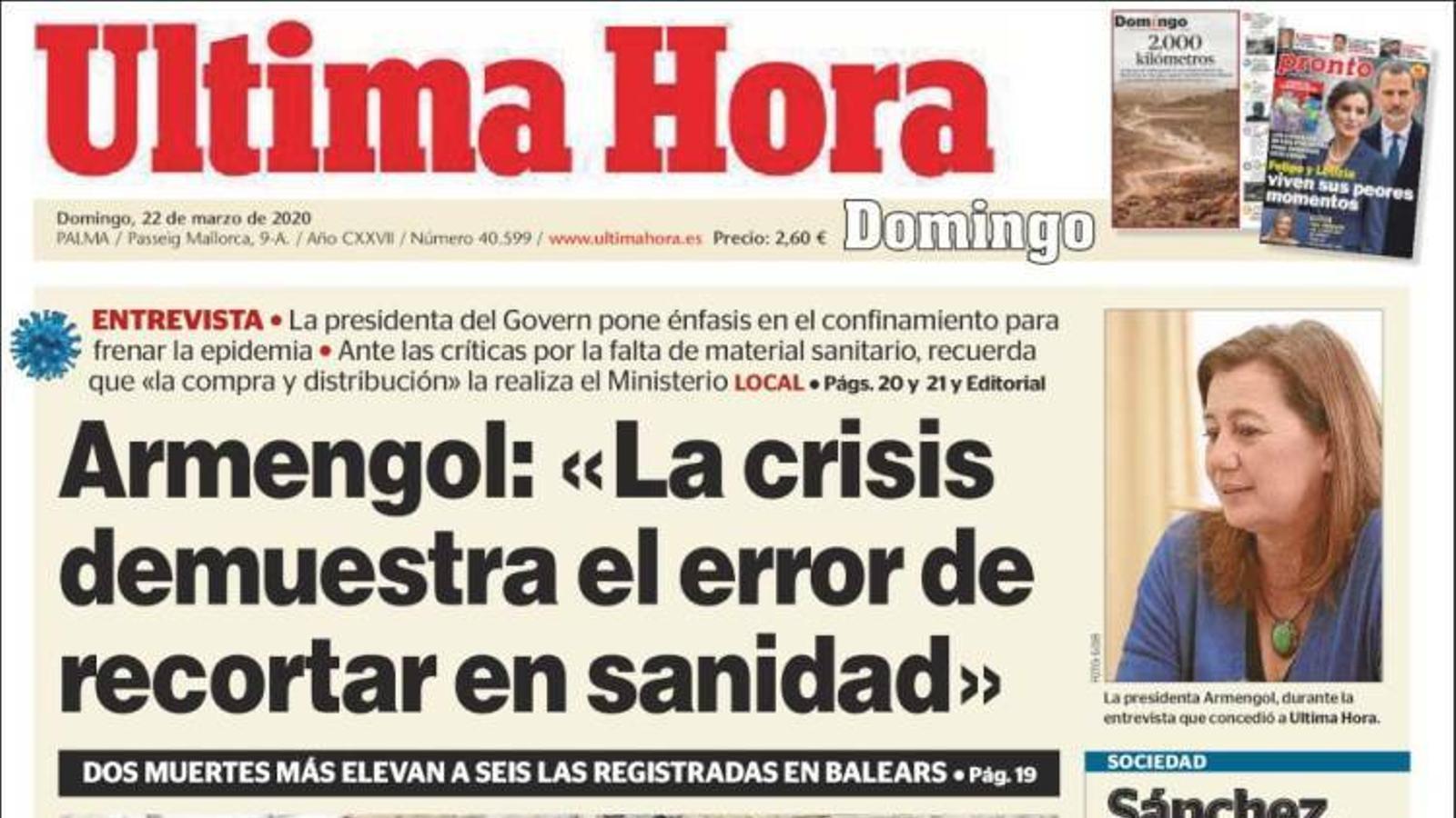 """""""Armengol: """"La crisi demostra l'error de retallar en sanitat"""", portada de l''Última Hora'"""