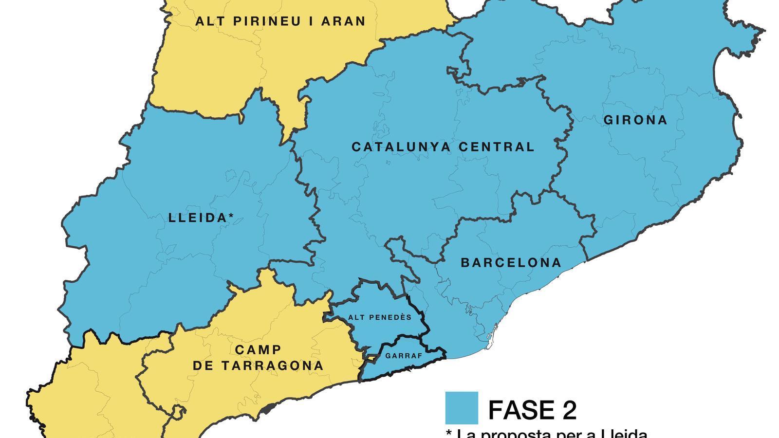 Mapa de les zones que Salut demanarà que passin de fase