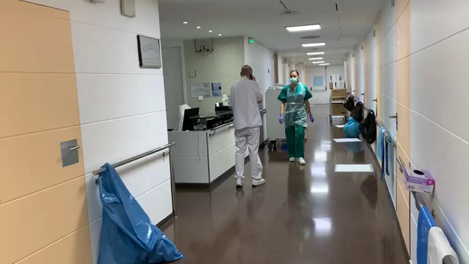 Imatges dels espais de l'hospital Nostra Senyora de Meritxell on estan ingressats pacients positius