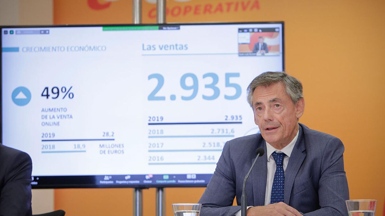 El director general de Consum, Juan Luis Durich, durant la conferència de premsa duta a terme per explicar els resultats de la cooperativa el 2019